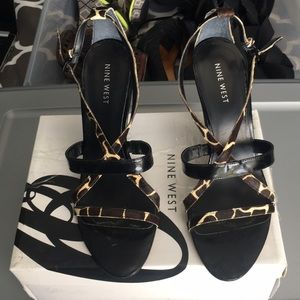 NINE WEST STRAPPY SANDALS WITH UNIQUE HEEL